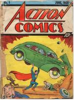 comic of Superman lifting an authombile